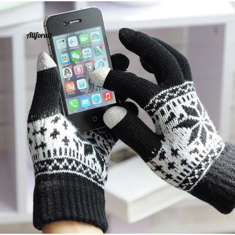 Winter Warm Touch Screen M/W Wool Knitted Gloves, Candy Color Snowflake Mittens for Mobile Phone Tablet Pad touchscreen glove allforall black
