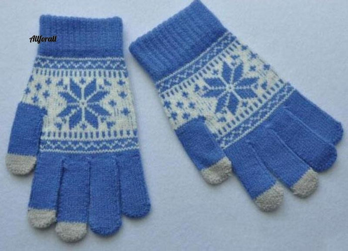 Winter Warm Touch Screen M/W Wool Knitted Gloves, Candy Color Snowflake Mittens for Mobile Phone Tablet Pad touchscreen glove allforall blue