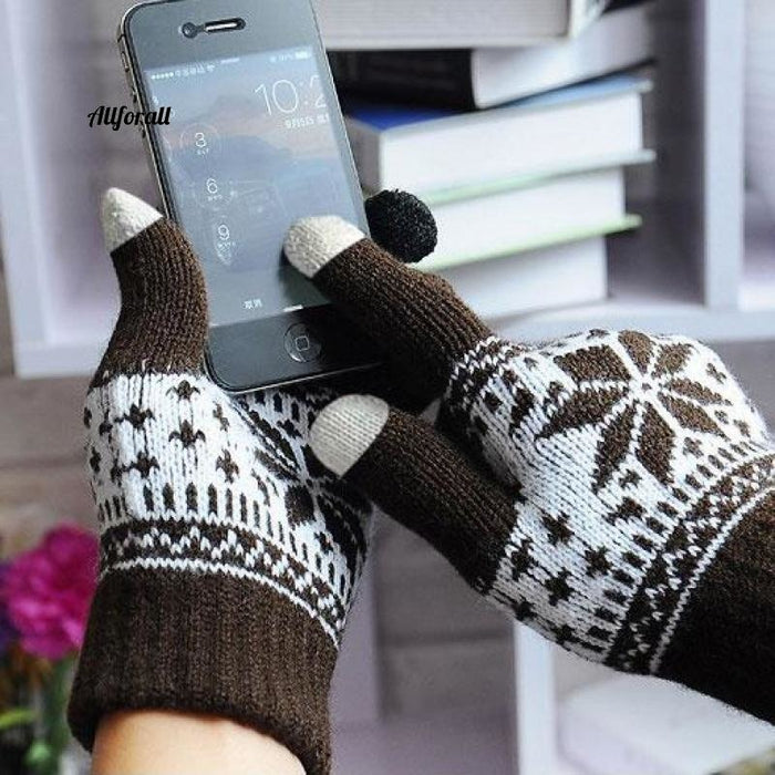 Winter Warm Touch Screen M/W Wool Knitted Gloves, Candy Color Snowflake Mittens for Mobile Phone Tablet Pad touchscreen glove allforall coffee