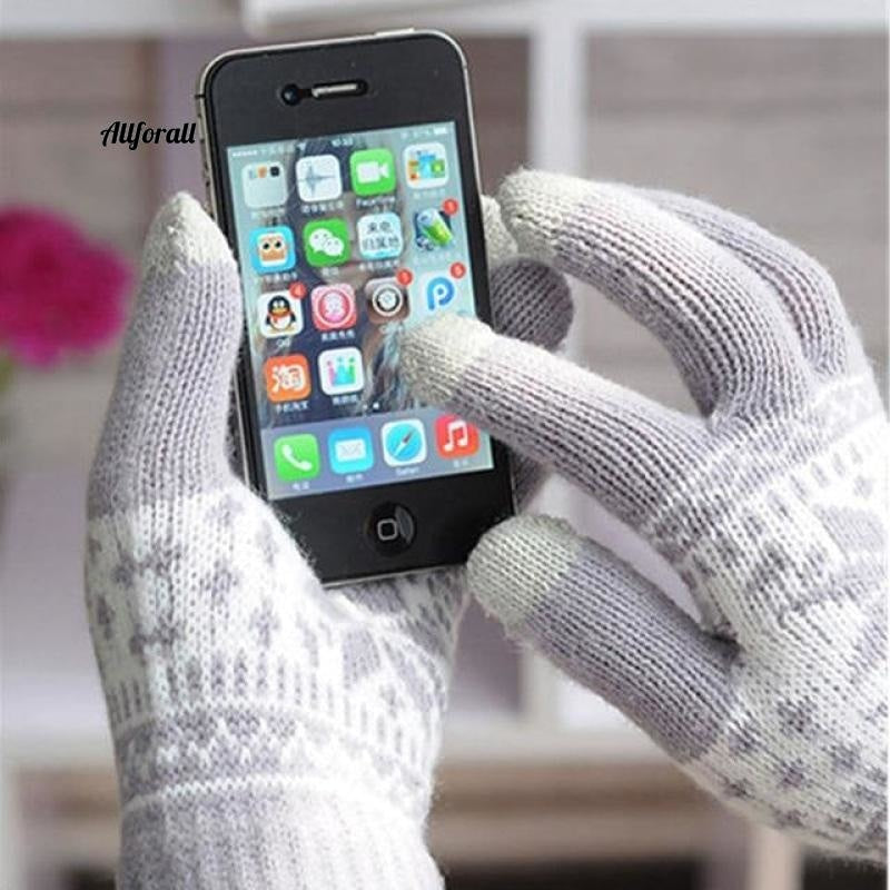 Winter Warm Touch Screen M/W Wool Knitted Gloves, Candy Color Snowflake Mittens for Mobile Phone Tablet Pad touchscreen glove allforall gray
