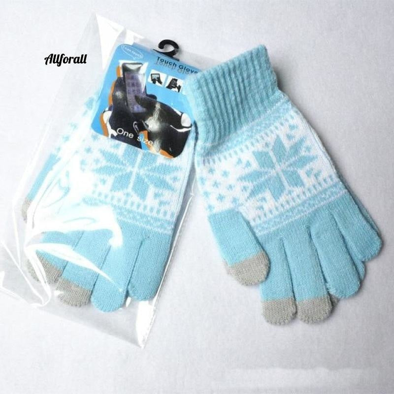Winter Warm Touch Screen M/W Wool Knitted Gloves, Candy Color Snowflake Mittens for Mobile Phone Tablet Pad touchscreen glove allforall light blue