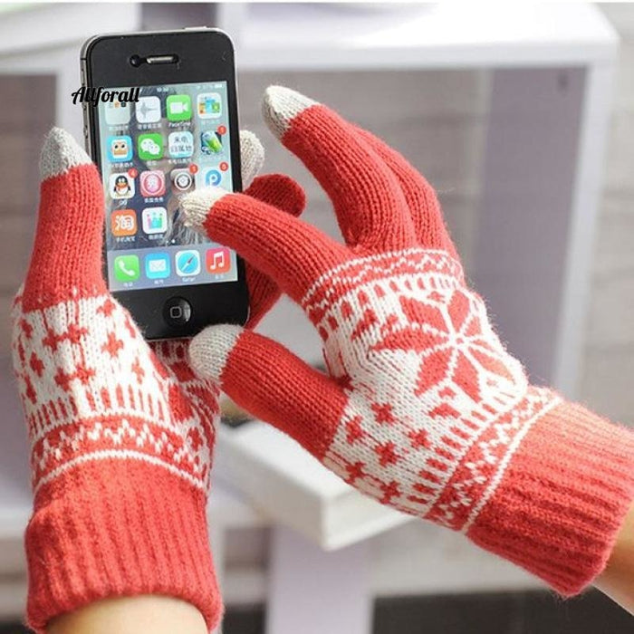Winter Warm Touch Screen M/W Wool Knitted Gloves, Candy Color Snowflake Mittens for Mobile Phone Tablet Pad touchscreen glove allforall orange
