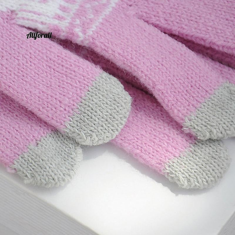 Winter Warm Touch Screen M/W Wool Knitted Gloves, Candy Color Snowflake Mittens for Mobile Phone Tablet Pad touchscreen glove allforall