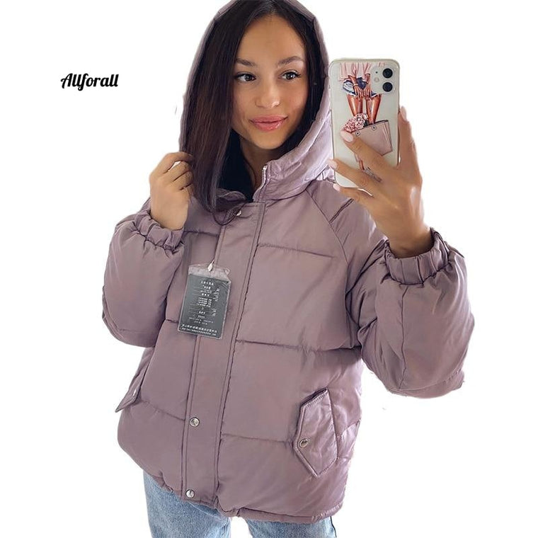 Winter Winter Parkas Coat, Casual Thicken Warm Hooded Padded Jacket, Female Solid Colorful Styled Outwear Jacket Snow