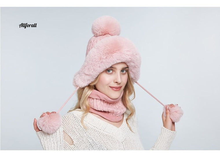 Women Bomber Hat Scarf Set, Winter Warm Faux Rabbit Fur Caps Thick Lined Ear Flap Beanies For Girls