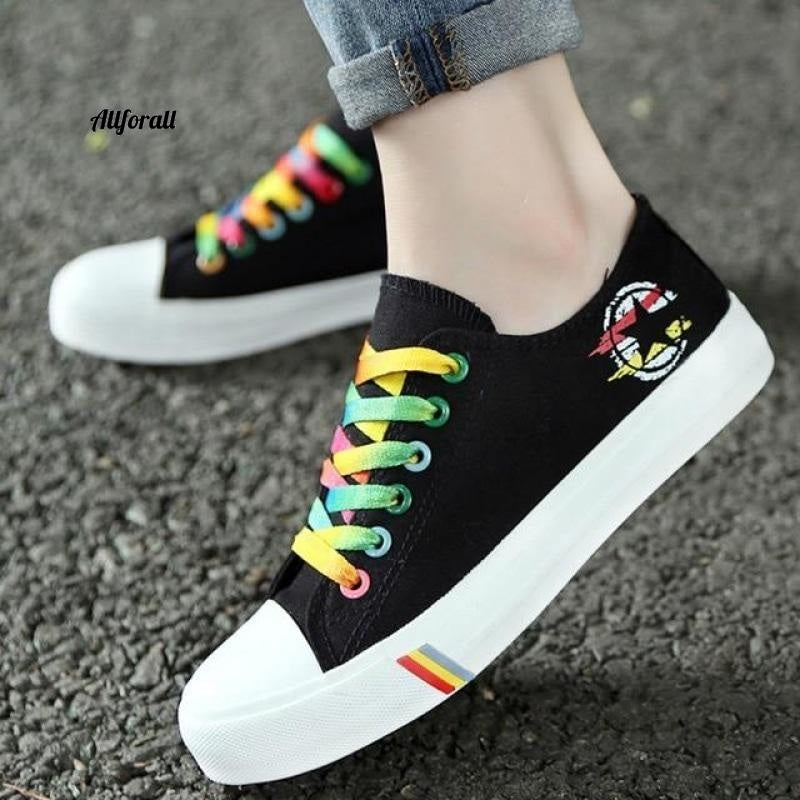 Women Casual Shoes, Spring and Summer Ladies Lace-up Canvas Shoes, Female Breathable Light Sneakers women sports shoes allforall Black 5