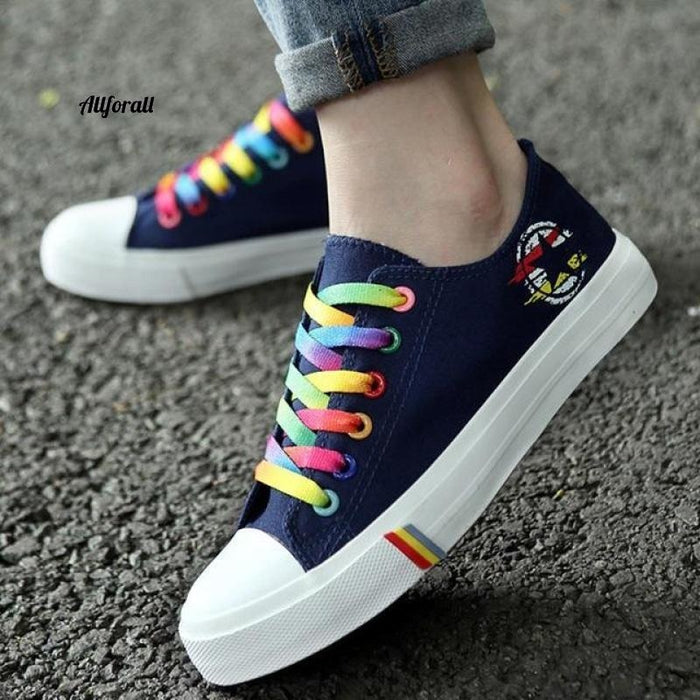 Women Casual Shoes, Spring and Summer Ladies Lace-up Canvas Shoes, Female Breathable Light Sneakers women sports shoes allforall Blue 5