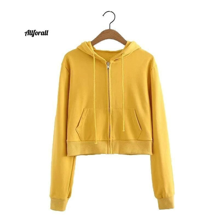 Women Crop Short Sweatshirt, Long Sleeve Cropped Hooded Drawstring Female Zip Up Pocket, Autumn Winter Hoodie