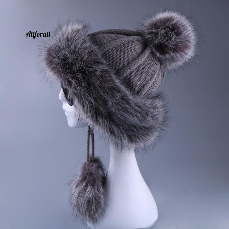 Women Faux Fox Fur Pompom Winter Russain Cossack Outdoor Ear-flap Wool Knitted Snow Ski Cap