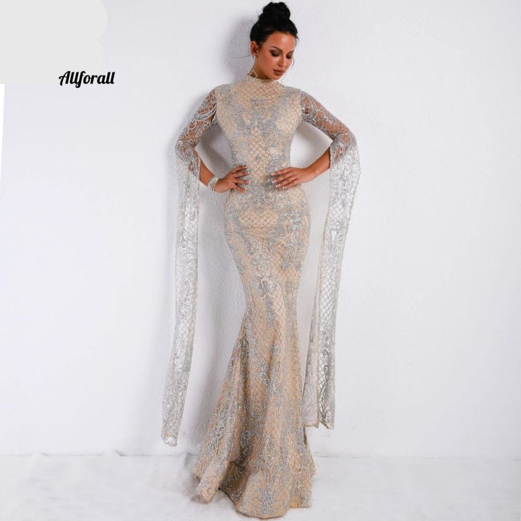 Women Sexy High Neck Long Sleeve Split Glitter Dress, Female Maxi Elegant Party Dress