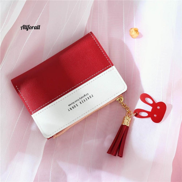 Women Short Wallet, Panelled Letters Small Zipper Purse, Tassel Soft Wallet