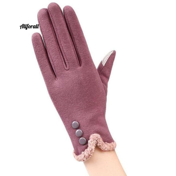 Women Touch Screen Glove, Winter Fashion Bow Ladies Lace Splice Warm Glove touchscreen glove allforall 13C Bean color