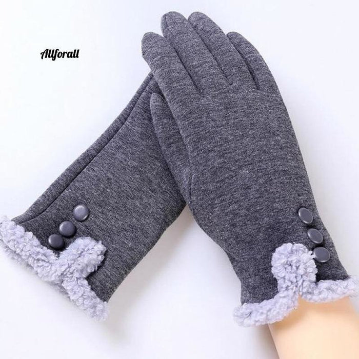 Women Touch Screen Glove, Winter Fashion Bow Ladies Lace Splice Warm Glove touchscreen glove allforall 13C Gray