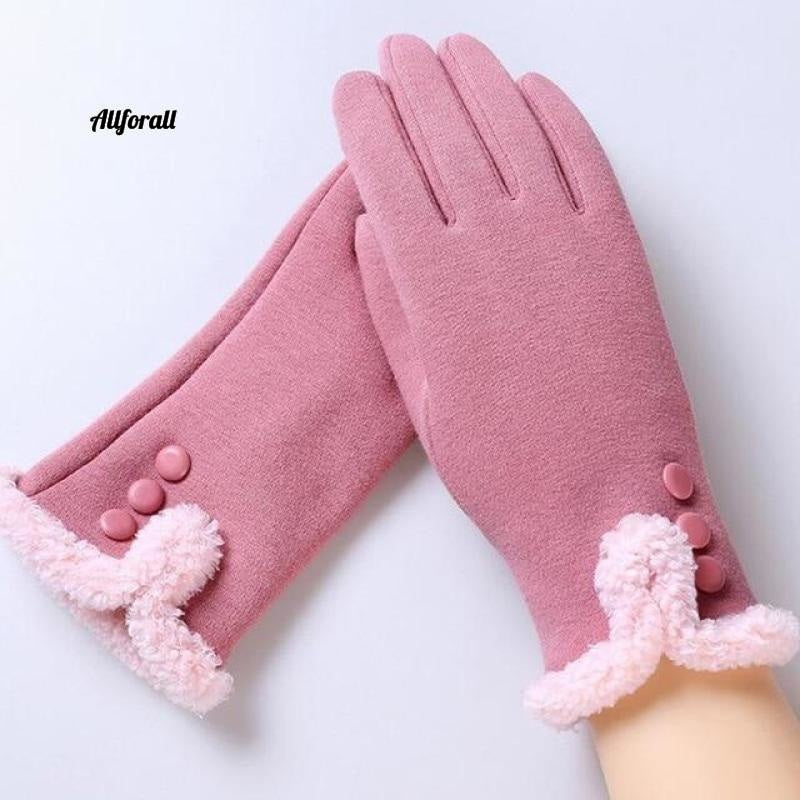 Women Touch Screen Glove, Winter Fashion Bow Ladies Lace Splice Warm Glove touchscreen glove allforall 13C Pink