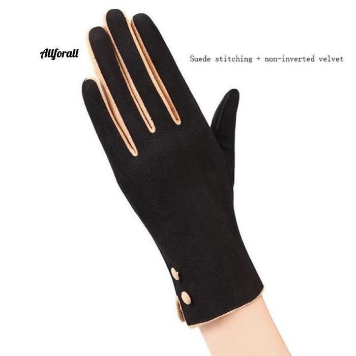 Women Touch Screen Glove, Winter Fashion Bow Ladies Lace Splice Warm Glove touchscreen glove allforall 19A Black