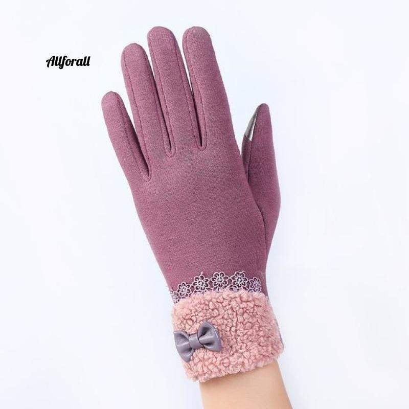 Women Touch Screen Glove, Winter Fashion Bow Ladies Lace Splice Warm Glove touchscreen glove allforall A Bean color