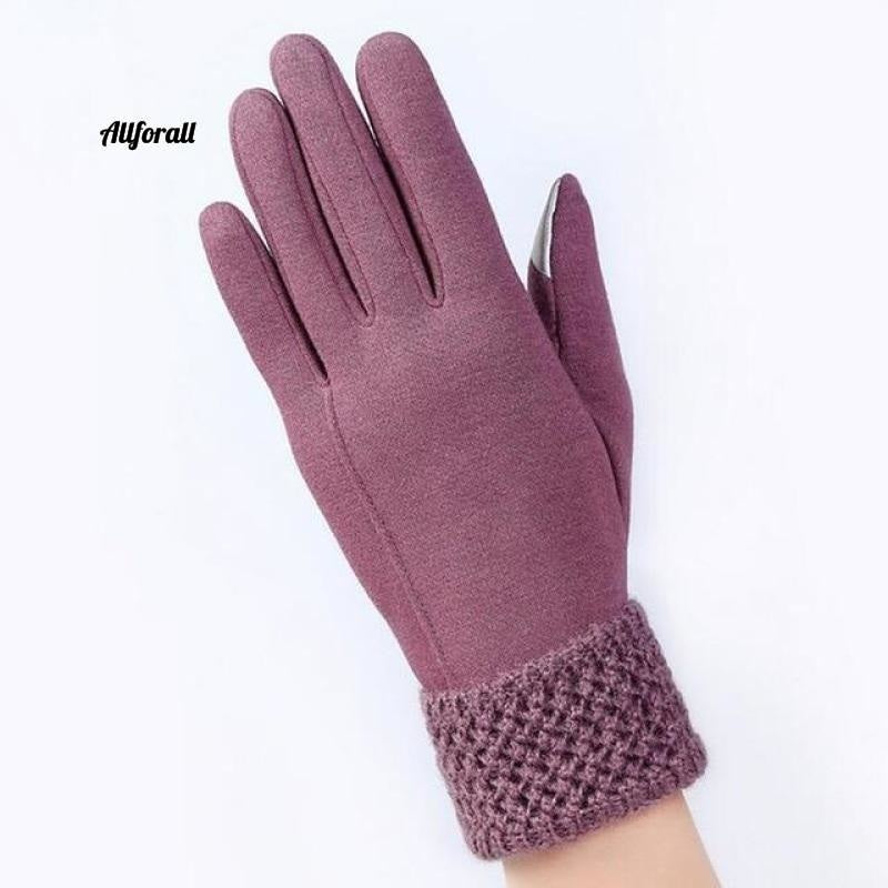 Women Touch Screen Glove, Winter Fashion Bow Ladies Lace Splice Warm Glove touchscreen glove allforall C Bean color