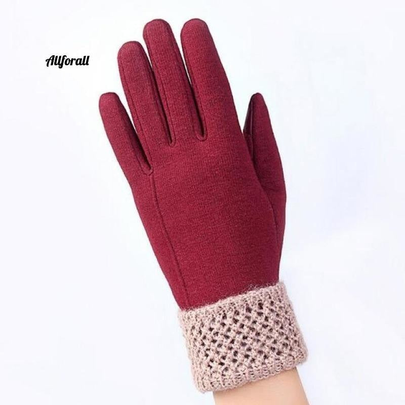 Women Touch Screen Glove, Winter Fashion Bow Ladies Lace Splice Warm Glove touchscreen glove allforall C Red
