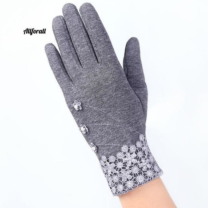 Women Touch Screen Glove, Winter Fashion Bow Ladies Lace Splice Warm Glove touchscreen glove allforall D Gray