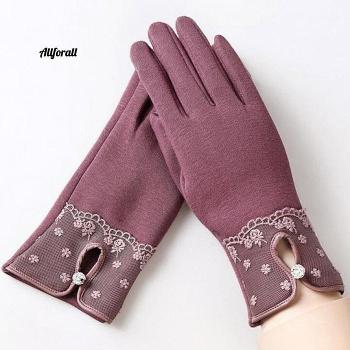 Women Touch Screen Glove, Winter Fashion Bow Ladies Lace Splice Warm Glove touchscreen glove allforall F Bean color