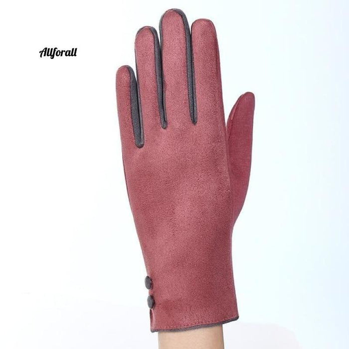 Women Touch Screen Glove, Winter Fashion Bow Ladies Lace Splice Warm Glove touchscreen glove allforall 19A Pink