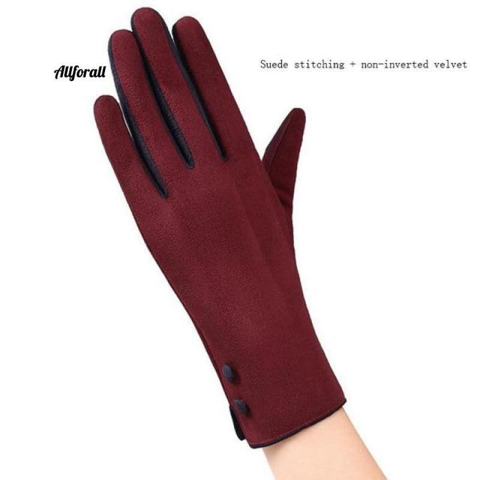 Women Touch Screen Glove, Winter Fashion Bow Ladies Lace Splice Warm Glove touchscreen glove allforall 19A Red