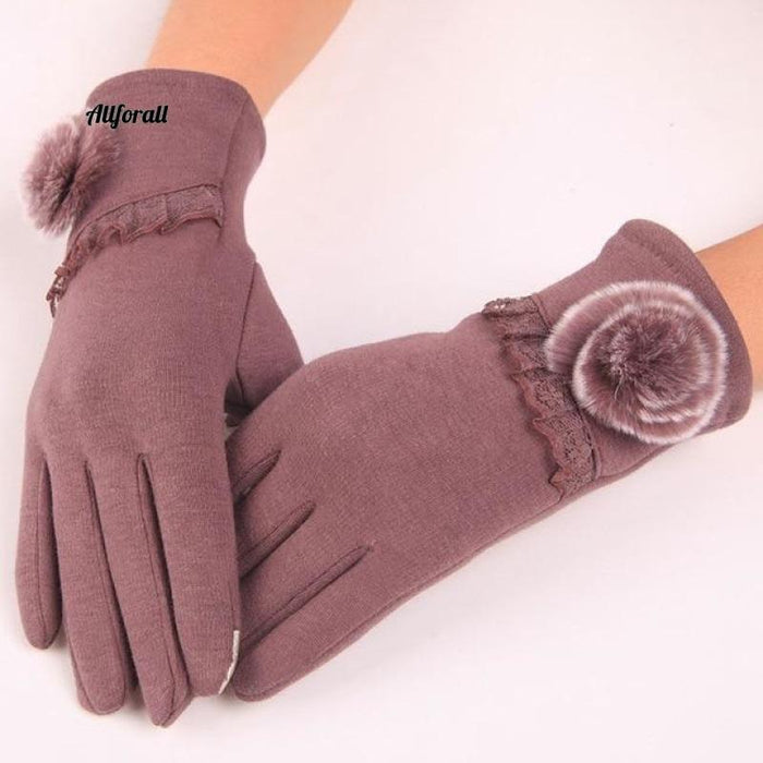 Women Touch Screen Glove, Winter Fashion Bow Ladies Lace Splice Warm Glove touchscreen glove allforall 22 Bean color