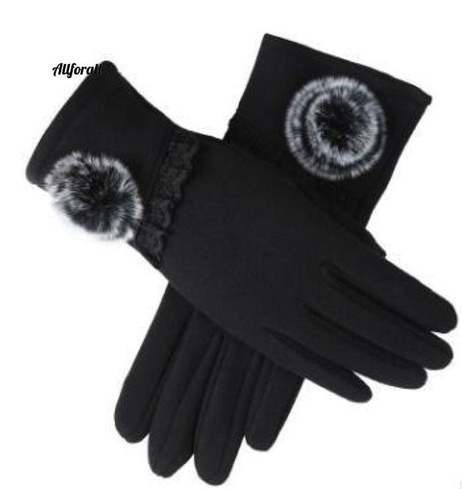 Women Touch Screen Glove, Winter Fashion Bow Ladies Lace Splice Warm Glove touchscreen glove allforall 22 Black