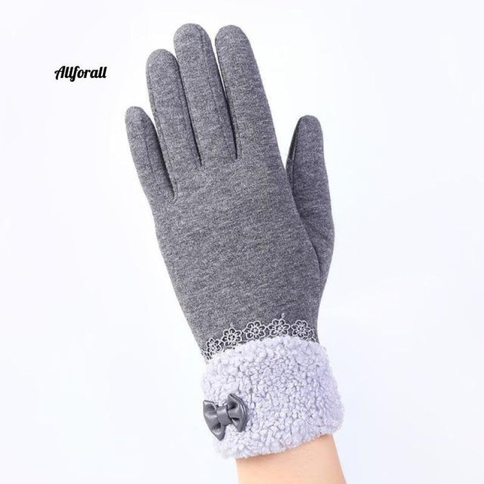 Women Touch Screen Glove, Winter Fashion Bow Ladies Lace Splice Warm Glove touchscreen glove allforall A Gray