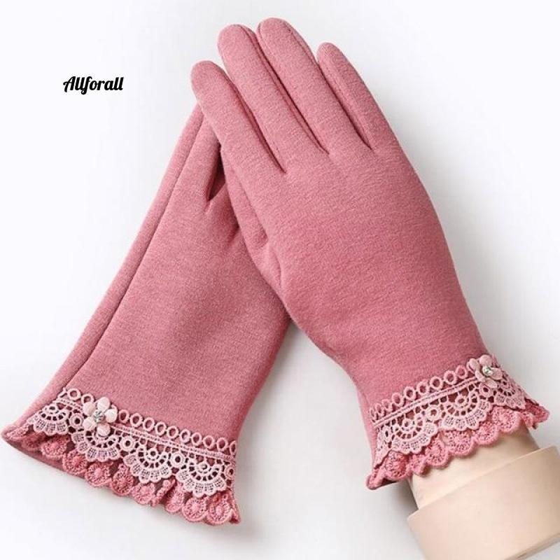 Women Touch Screen Glove, Winter Fashion Bow Ladies Lace Splice Warm Glove touchscreen glove allforall B Pink