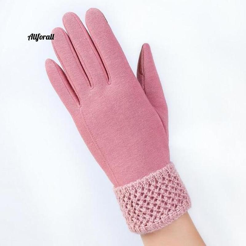 Women Touch Screen Glove, Winter Fashion Bow Ladies Lace Splice Warm Glove touchscreen glove allforall C Pink