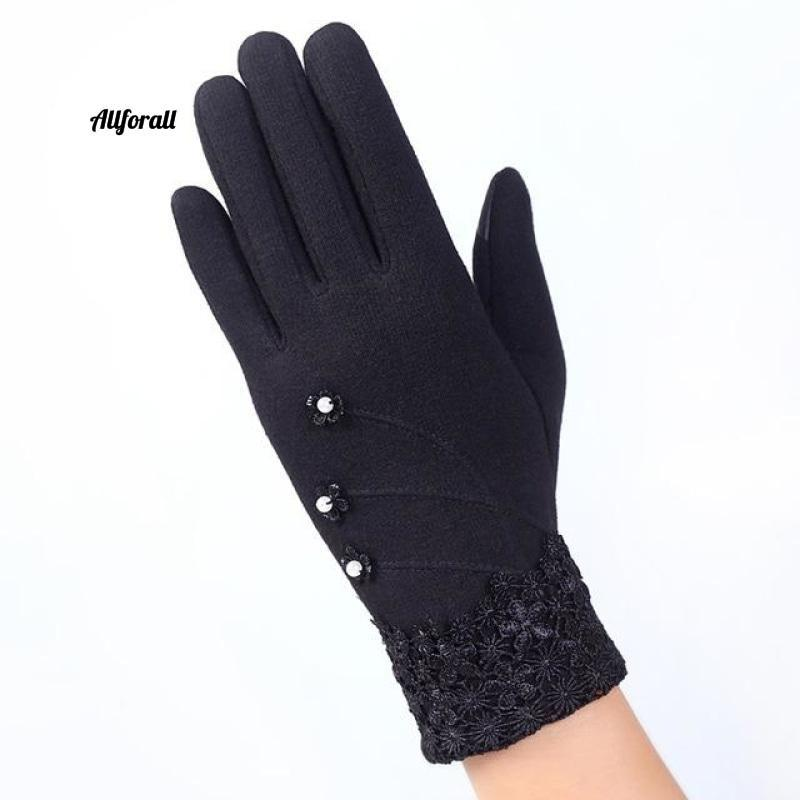 Women Touch Screen Glove, Winter Fashion Bow Ladies Lace Splice Warm Glove touchscreen glove allforall D Black