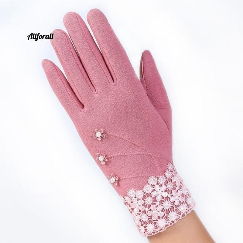 Women Touch Screen Glove, Winter Fashion Bow Ladies Lace Splice Warm Glove touchscreen glove allforall D Pink