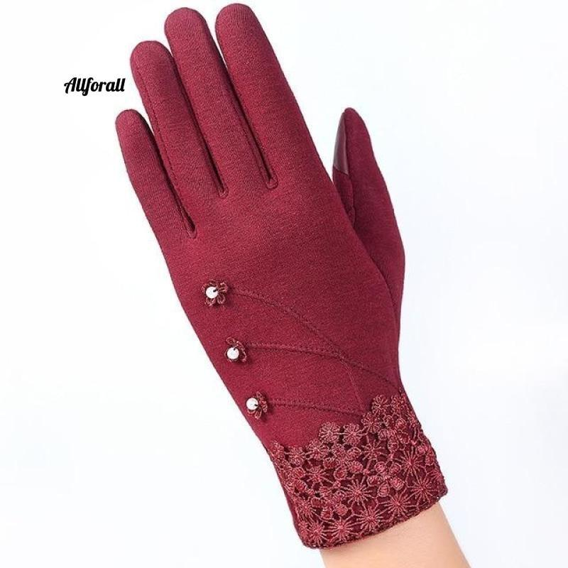 Women Touch Screen Glove, Winter Fashion Bow Ladies Lace Splice Warm Glove touchscreen glove allforall D Red