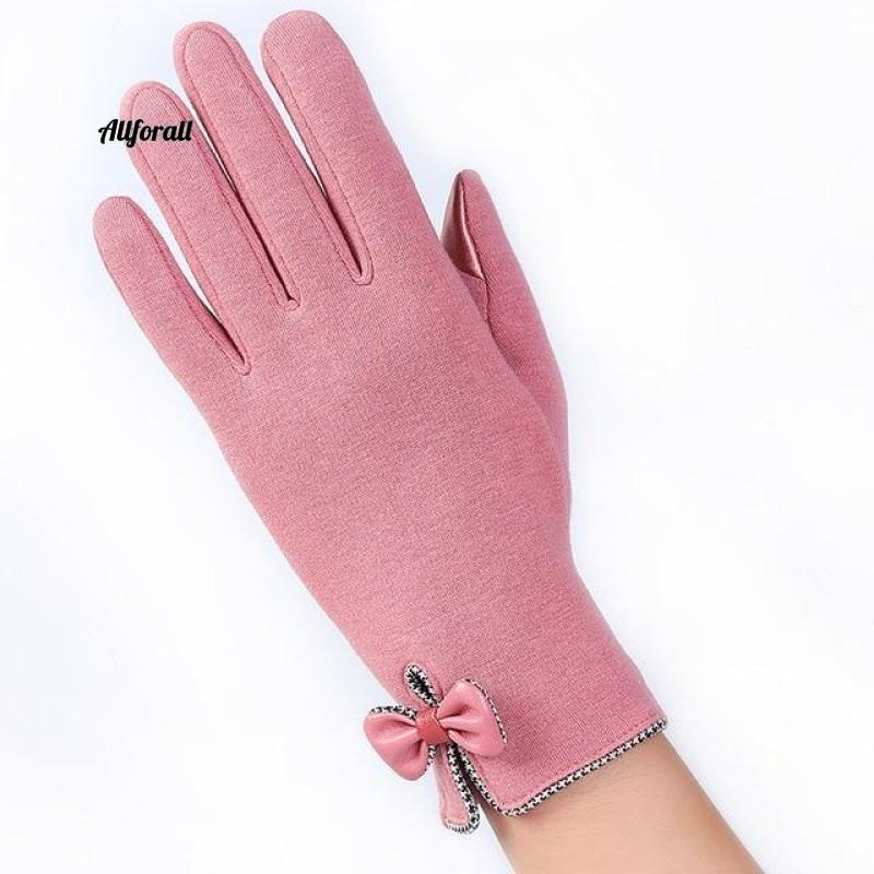 Women Touch Screen Glove, Winter Fashion Bow Ladies Lace Splice Warm Glove touchscreen glove allforall E Pink