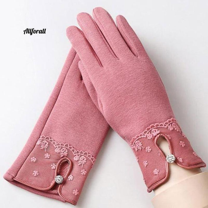Women Touch Screen Glove, Winter Fashion Bow Ladies Lace Splice Warm Glove touchscreen glove allforall F Pink