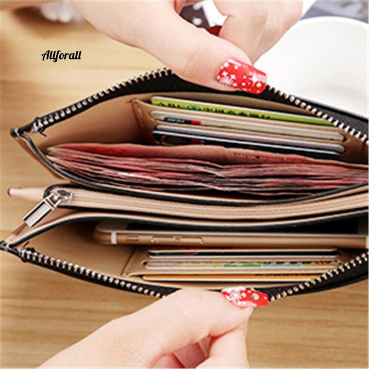 Women Wallet, PU Leather Long Women Cellphone Bag Card Holder