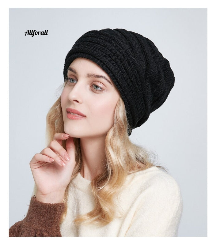 Women Winter Knit Hat, Casual Slouchy Beanies Soft Over-sized Warm Lining Lady Cap