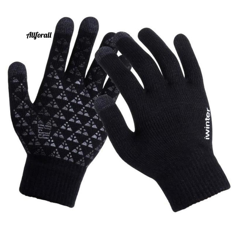 Women/Men Knitted Gloves, Touch Screen High Quality Thicken Warm Wool Cashmere Winter Autumn Mitten touchscreen glove allforall Black Men