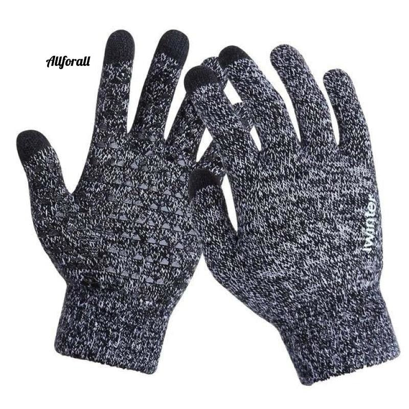 Women/Men Knitted Gloves, Touch Screen High Quality Thicken Warm Wool Cashmere Winter Autumn Mitten touchscreen glove allforall BlackWhite Men