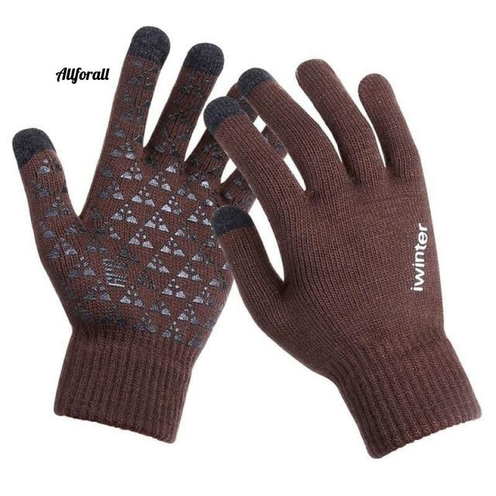 Women/Men Knitted Gloves, Touch Screen High Quality Thicken Warm Wool Cashmere Winter Autumn Mitten touchscreen glove allforall Coffee Men