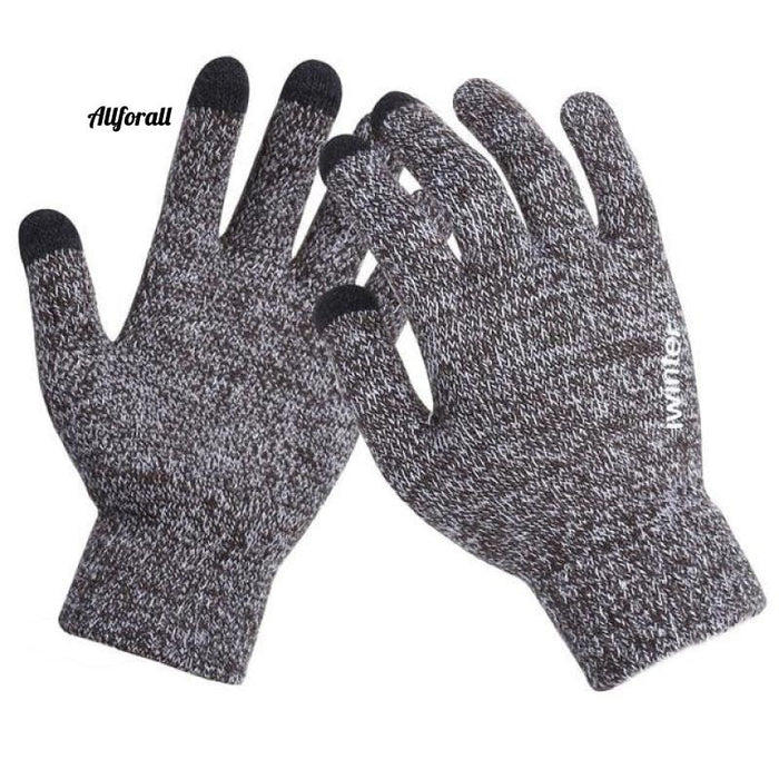 Women/Men Knitted Gloves, Touch Screen High Quality Thicken Warm Wool Cashmere Winter Autumn Mitten touchscreen glove allforall CoffeWhite Men