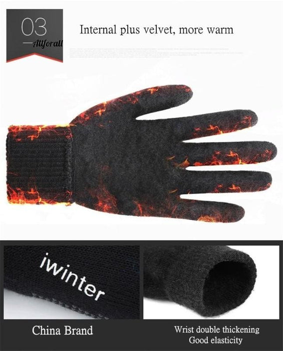 Women/Men Knitted Gloves, Touch Screen High Quality Thicken Warm Wool Cashmere Winter Autumn Mitten touchscreen glove allforall