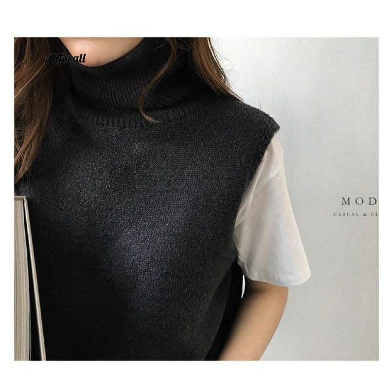 Women's Knitted Angora Rabbit Cashmere Wool Turtleneck Vest, Side Slit Winter Female Wool Sweater Sleeveless Waistcoat