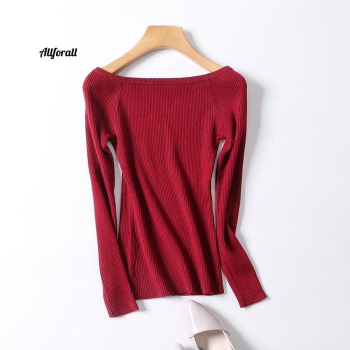 Womens gebreide jas trui Jumper Koreaanse stijl truien Pullover Slash nek Sweeter dames Winter