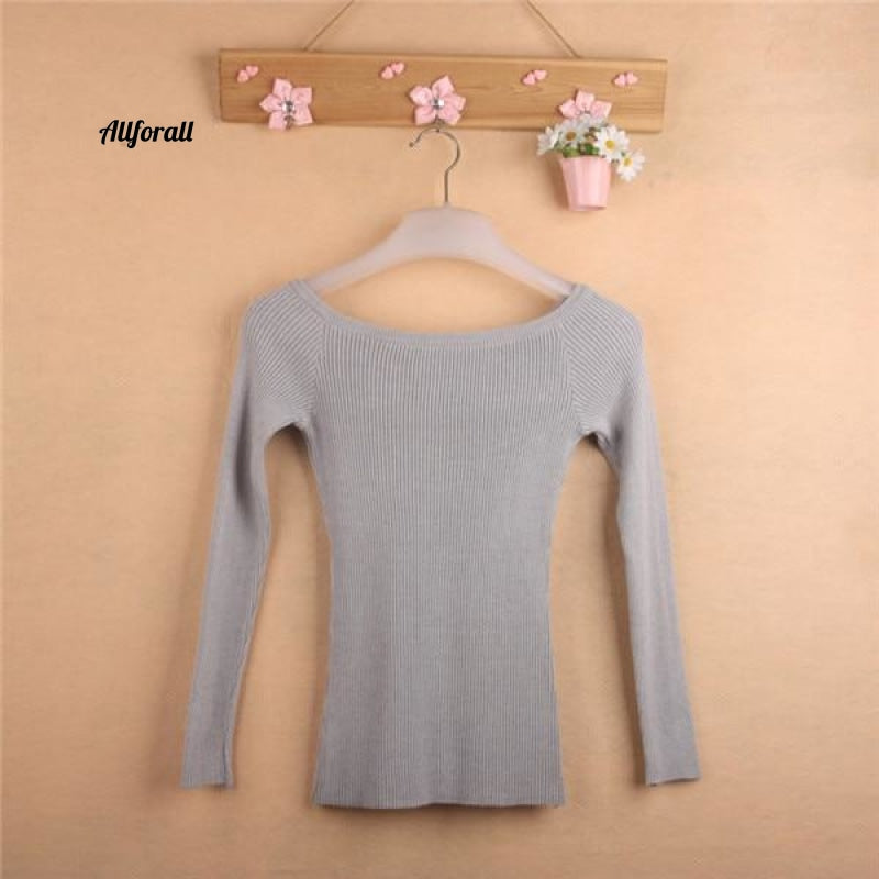 Women's Knitted Jacket Sweater Jumper, Korean style Sweaters, Pullover Slash Neck Sweeter
