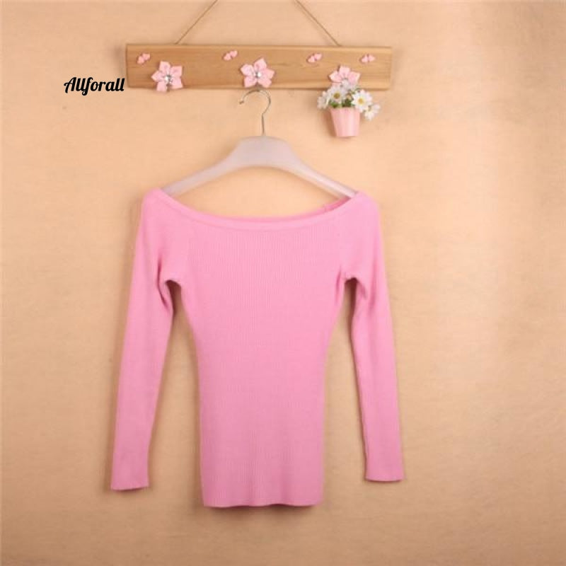 Dames Gebreide jas Sweater Jumper Koreaanse stijl Truien Pullover Slash Neck Sweeter Pink / One