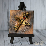 Gothic/ Bat Key Miniature Canvas and Easel