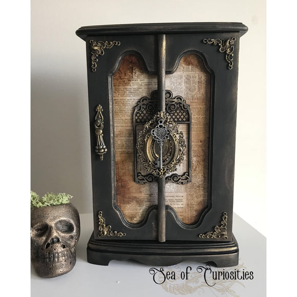 Gothic, Vintage Key Upcycled Mixed Media Jewellery Cabinet/Box