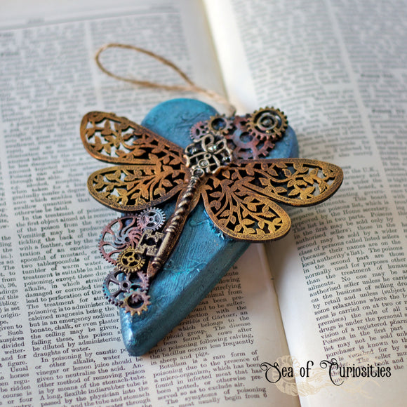 Steampunk Dragonfly Hanging Wooden Heart